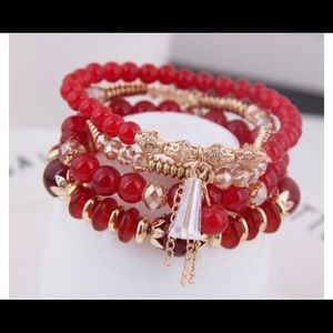 Beautiful Red Beaded Bracelet Set